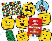 Printable Toy Brick 'Lego Inspired' Photo Props Digital File Printable PDF 10pc