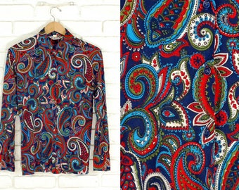 70s Psychedelic Paisley Print Pointed Collar Shirt Size Medium