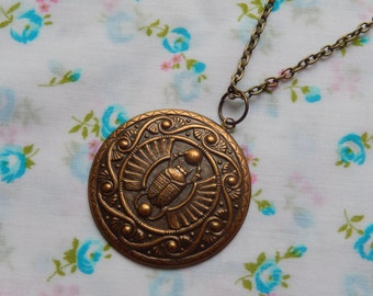 Round Scarab Beetle Antique Brass Plated Charm Pendant Necklace