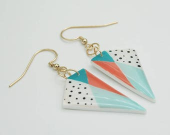 Geometric Color Block Polkadot Earrings, Colorful Statement Earrings, Mint, Coral and Gold Dangle Earrings, Handmade Jewelry Gift For Her