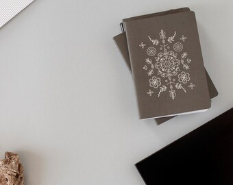 Yoga practice notebook - SILVER foil Handmade notebook - sketchbook - Boho design  -  Emboss - letterpress