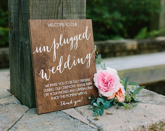 Unplugged wedding sign, unplugged ceremony sign, unplugged wedding, unplugged ceremony, wedding sign, wood sign, wood wedding sign