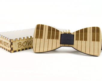 Wooden Bow Tie - PIANO KEYS - Basswood - Clip On No Tie Bow Tie For Men Formal Wear
