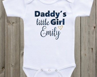 Daddy's little Girl Baby Onesie Custom Onesie Glitter Shirt Baby Shirt Baby Girl Outfit Baby Shower Gift Newborn Outfit Baby Girl Gift
