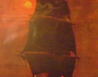 """1901 """"Homeward Bound"""" Ship Matted Antique Print"""