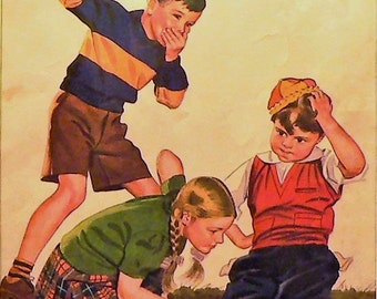 1941 Child Life Matted Vintage Magazine Cover Kids Playing Marbles