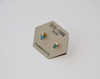 Blue Apatite Earrings - Gold Apatite Earrings - Gold Leaf Gemstone Earrings - Dainty Boho Earrings - Sterling Silver Stud Earrings