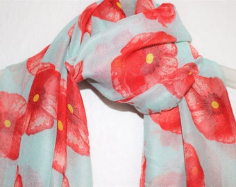 Flower Scarf, Poppy Scarf, Pale Blue Poppy Scarf, Remembrance Day, 11th November, Womens Gift, For Her, Spring, Summer, Autumn Scarf, Flower