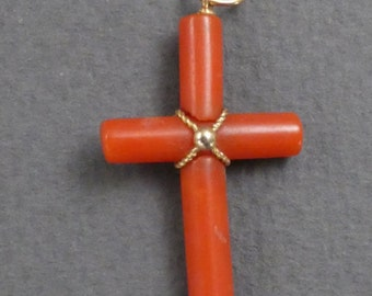 Lovely Coral and Gold cross