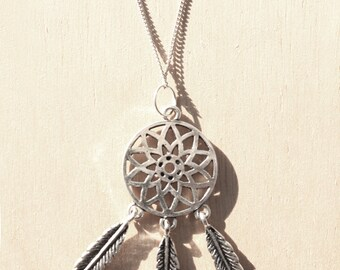Dreamcatcher Silver Charm Necklace