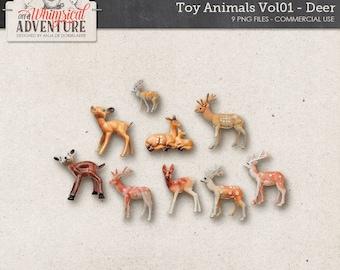 Woodland Toy Animals, Deer, Reindeer, Animal Figures, Commercial Use OK, Christmas, Digital Scrapbooking Elements, Forest, Outdoor, Winter