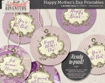 Mother's Day printable digital collage sheet instant download Happy Mother's Day round gift tags vintage tag roses hang labels for gifts