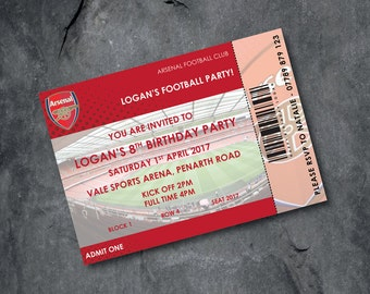 Arsenal Football invitations - kids party - personalised - Free P&P