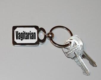 Vagitarian keychain, vagina pride, girl power, pride, feminist keychain, LGBT, sarcasm, funny keychain, girl gift, vagina rules, pussy power