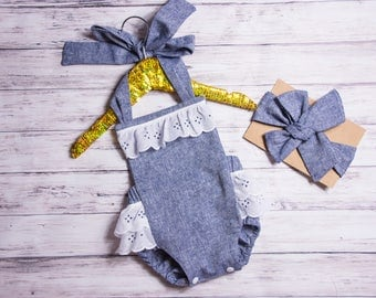 Baby Girl Romper- chambray and eyelet romper and head wrap set, denim chambray outfit, summer ruffle romper, girls white eyelet outfit