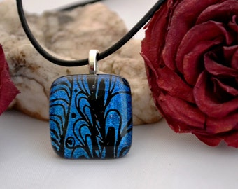 fused glass dichroic engraved pendant, blue dazzle, handmade, kiln fired