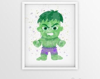 Hulk print Avengers Watercolor hulk Art, hulk poster hulk Wall decor, Hulk Watercolor Superhero Poster hulk wall art, superhero gift hulk