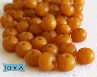 Smooth Honey Color Copal Rondelle Beads--5 Pcs | DCP120C-5