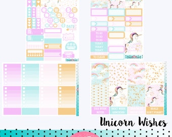UNICORN WISHES Planner Sticker Kit - great for planning in your Erin Condren Life Planner - Blue, Pink, Rainbow. Vertical Hourly Horizontal