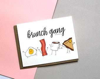 Brunch Card, Breakfast Club Card, Brunch Greeting Card, Let's Brunch, Bacon and Eggs Card, Breakfast Card, Coffee Card, Friendship Card