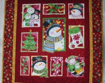 Patchwork Quilt, Snowman Quilt, Christmas Quilt, Christmas Decoration, Christmas Gift