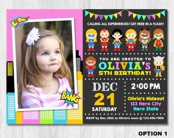 SUPERHERO Girl Invitation with Photo