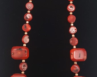 "Red Coral Necklace with Large Chunky Vintage Estate Coral Beads 21"" - J35"
