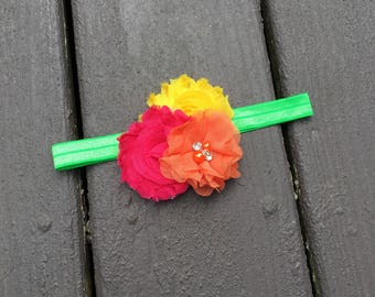 Hot Pink Yellow Orange Lime Green Headband - Summer Headband - Baby Headband - Shabby Bow - Shabby Chic Bow - Colorful Bow