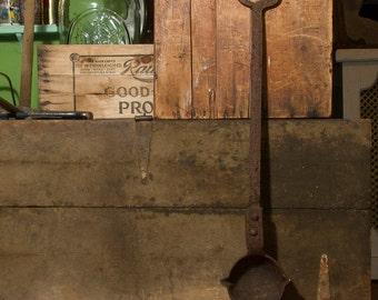 Antique Cast Iron Smelting Ladle, Large Cast Iron Spoon Triple Spout Farmhouse Antiques, Blacksmith Tools, Antique tools, Primitive Antiques