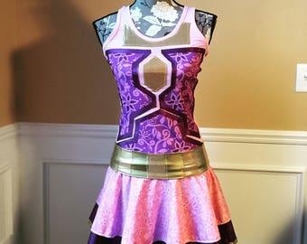 Rapunzel Purple princess/Bounty Hunter mash up costume Running/Athletic Skirt and Performance top