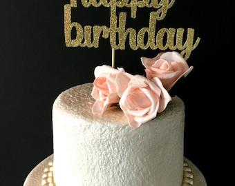 Happy birthday cake topper .. black glitter cake topper .. birthday party