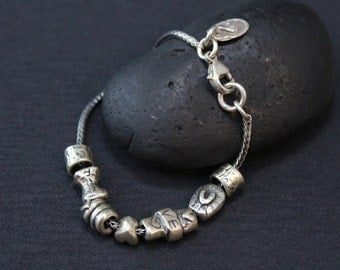Valentine's Day Sterling Silver Island Cowgirl Love Heartfelt Bracelet with Silver Plated Beads