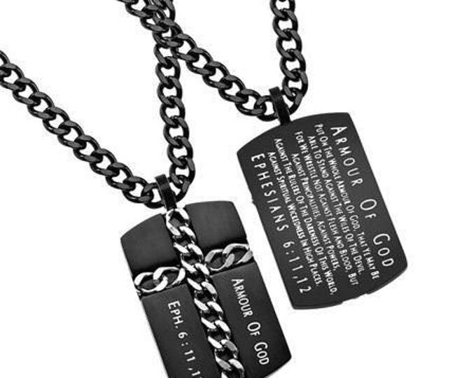 """Black Chain Cross Necklace """"Armor of God"""""""