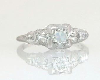 Antique Art Deco .25ct J VS2 Genuine Diamond 18K White Gold Engagement Ring
