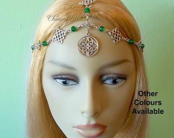 Celtic Warrior Headdress, Medieval Headpiece, Gladiator Head Chain, Green Celtic Queen Crown, Pagan Diadem, Druid Headpiece, Helmet, Larp
