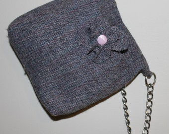 Small pink & grey Harris Tweed wool bag with chain strap