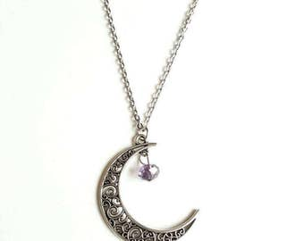June Birthstone Necklace, Alexandrite Necklace, Silver Moon Necklace, Crescent Moon Necklace, Gemini Necklace, Cancer Necklace, Gift for Her