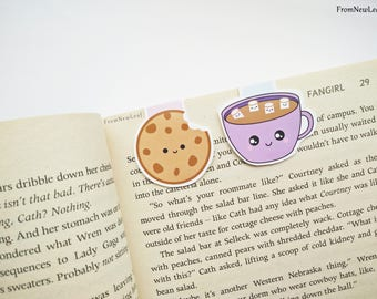 Cute Cookie and Hot Chocolate Magnetic Bookmarks Pack of 2