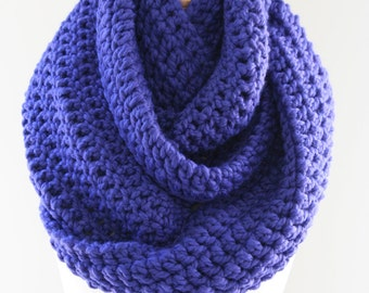 Chunky Scarf, Oversized Infinity, Wool Scarf, Hand Knit Scarf, Crocheted Scarf