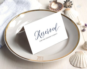 PDF Template 5x3.5 tent style Reserved For Brides Grooms Family navy sign INSTANT DOWNLOAD Wedding calligraphy Reserved Cards Printable
