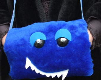 Hand warmer. blue monster muff. one of a kind