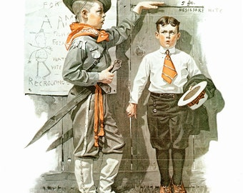 Recruiting Officer Post Cover painted by Norman Rockwell 6/16/1917. The page is approx. 11 1/2 inches wide and 15 inches tall.