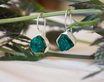 One of a Kind Raw Dioptase Hook Earrings set in Brushed Sterling Silver