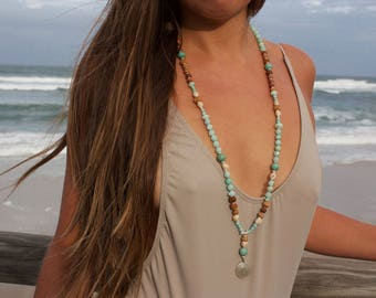 Amazonite + Carved Sandalwood Mala Necklace with Thai Hill Tribe Silver + Lotus Pendant