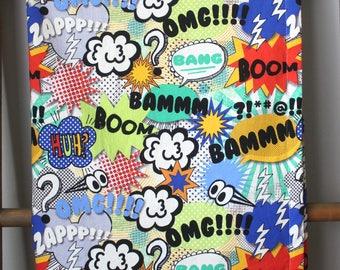 Comic Baby Blanket-Pop Art Baby Blanket- Boy Baby Blanket-Homemade Baby Blanket-Black and White Baby Blanket-Superhero Blanket-Comic Nursery