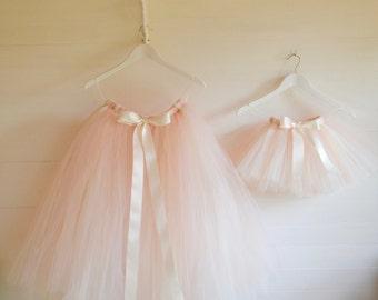 Girls tutu, flower girl tutu, ivory, pink, champagne bridesmaid tutu skirt, flower girl dress, girls tutu skirt, wedding tutu, tutu dress