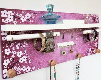 Cherry blossom jewelry organizer - Ready to ship - Hand painted jewellery rack with shelf - Rings studs holder - Wooden knobs