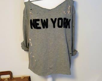 Distressed, Laddered New York Sweat Shirt