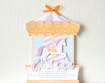 Unicorn Carousel Invitations: little girl party, fair celebration, merry-go-round card, royal, regal birthday, daughter, child - LRD040P