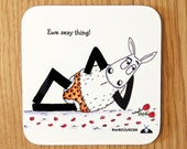 Funny, coaster, Ewe Sexy Thing!, funny mat, gift for him, funny homeware, sheep coaster, shepherd gift, knitters gift idea, cheeky drink mat